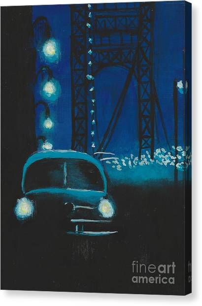 Film Noir In Blue #1 Canvas Print