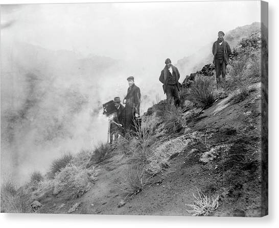 Mount Etna Canvas Print - Filming Mount Etna Eruption by Library Of Congress