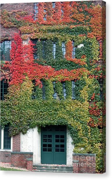 Western Michigan University Wmu Canvas Print - Final Farewell Wmu Dorm In Autumn Ivy by Penny Hunt