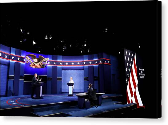 Final Presidential Debate Between Hillary Clinton And Donald Trump Held In Las Vegas Canvas Print by Drew Angerer