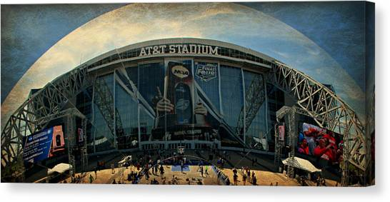 Dallas Cowboys Cheerleaders Canvas Print - Finals Madness 2014 At Att Stadium by Stephen Stookey