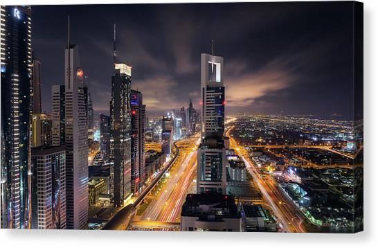 Dubai Skyline Canvas Print - Financial Center Dubai by Fred Gramoso