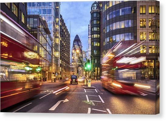 Financial District In London At Dusk Canvas Print by Xavierarnau