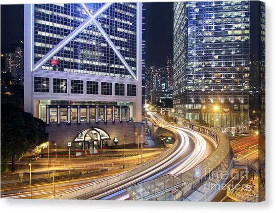 Hongkong Canvas Print - Financial District Of Hong Kong by Lars Ruecker