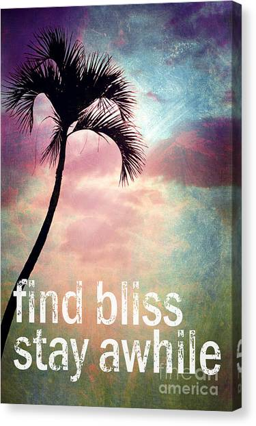 Palm Trees Sunsets Canvas Print - Find Bliss Stay Awhile by Sylvia Cook