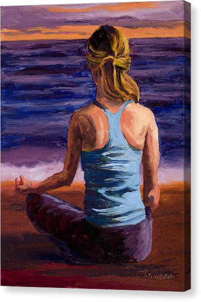 Yogi Canvas Print - Finding Peace Sukhasana by Mary Giacomini