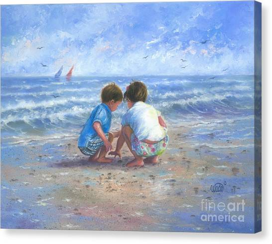 Children On Beach Canvas Print - Finding Sea Shells Brother And Sister by Vickie Wade