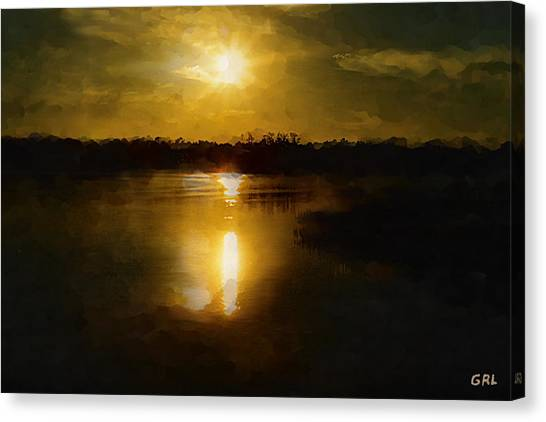 Fine Art Digital Painting Sunset Weeki Wachee Florida Canvas Print
