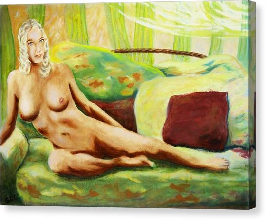 Canvas Print featuring the painting Fine Art Female Nude Sitting Brigit Original Painting by G Linsenmayer