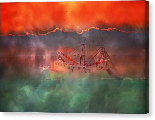 Shrimping Canvas Print - Fire And Ice Misty Morning by Betsy Knapp