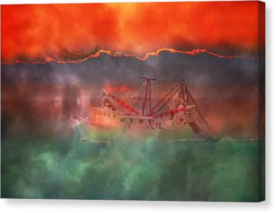 Shrimp Boats Canvas Print - Fire And Ice Misty Morning by Betsy Knapp