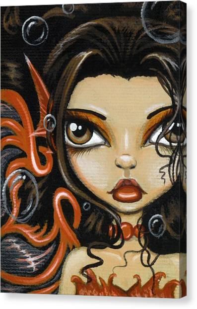 Big Eye Art Canvas Print - Fire Beneath The Sea by Elaina  Wagner