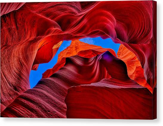 Fire Beneath The Sky In Antelope Canyon Canvas Print