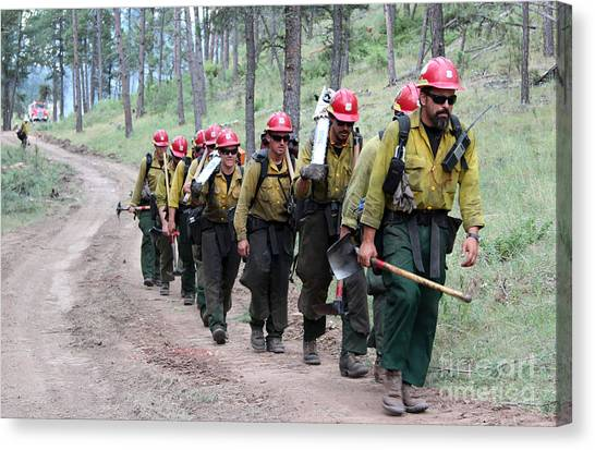 Fire Crew Walks To Their Assignment On Myrtle Fire Canvas Print