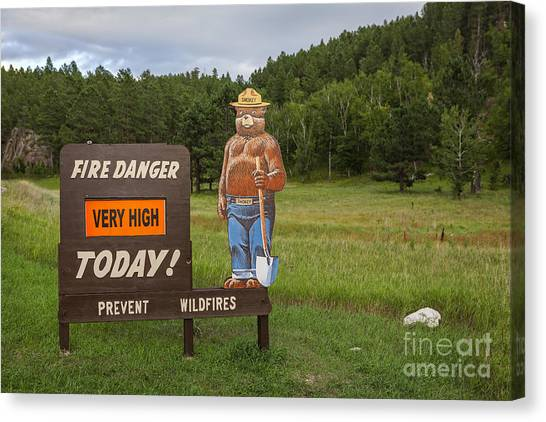 Canvas Print featuring the photograph Fire Danger Sign  by Bryan Mullennix