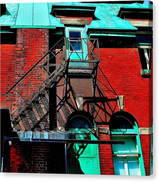 Fire Escape Imprints - Perspective 1 - Ontario - Canada Canvas Print
