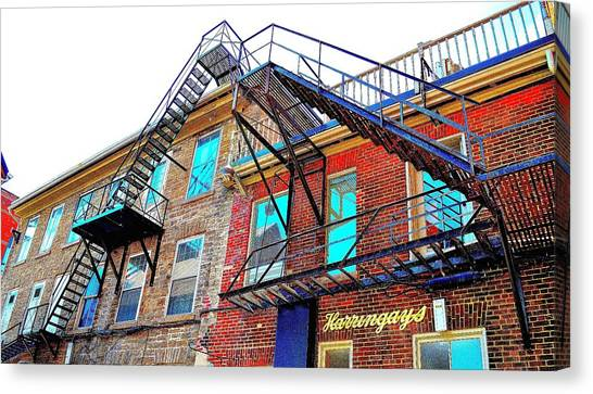 Fire Escape Reflections - Canada Canvas Print