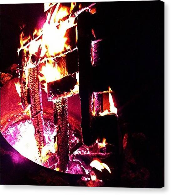 Roast Canvas Print - #fire, #flames, #firepit, #woodburning by Melissa Hardecker