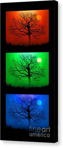 Ohio Valley Canvas Print - Fire Halo Triptych by Richard Vulgamore