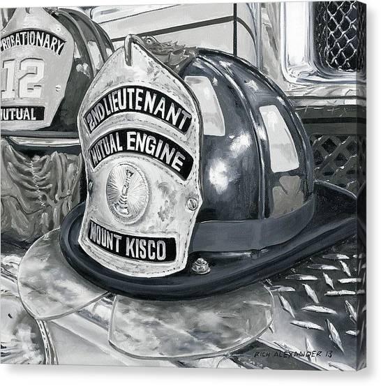 Volunteer Firefighter Canvas Print - Fire Helmet by Rich Alexander