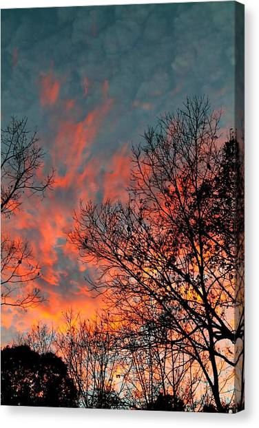 Canvas Print featuring the photograph Fire In The Sky by Candice Trimble