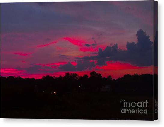 Fire In The Sky Canvas Print by Heather Roper