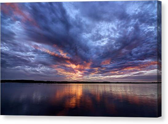 Fire In The Sky Sunset Over The Lake Canvas Print