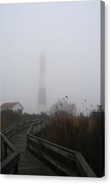 Fire Island Lighthouse In Fog Canvas Print