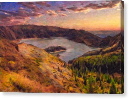 Fire Lake At Sunset Canvas Print