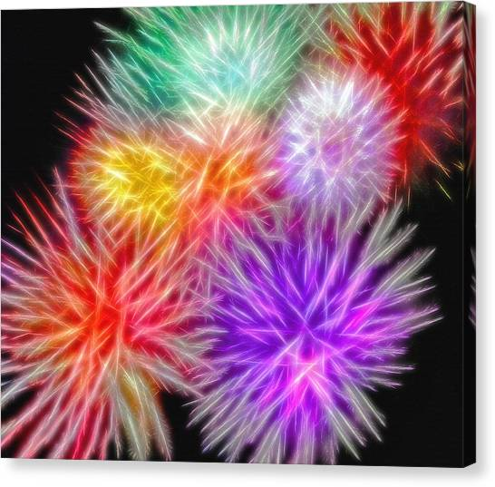 Fire Mums - Fireworks Collage 2 Canvas Print by Steve Ohlsen