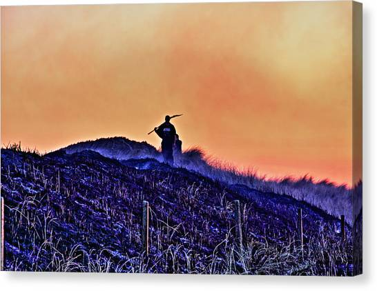 Fire On The Dunes Canvas Print by Tony Reddington