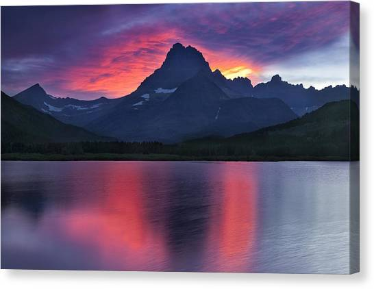 Glacier National Park Canvas Print - Fire On The Mountain by Andrew Soundarajan
