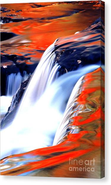 Fire On Water Fall Reflections Canvas Print by Robert Kleppin