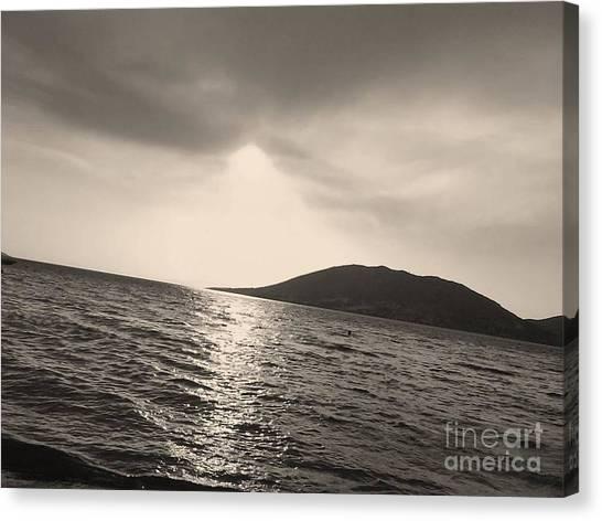 Fire  Sky In Black Canvas Print by Katerina Kostaki