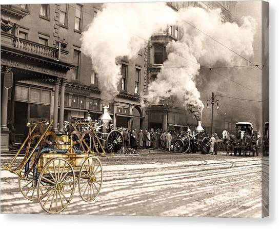 Fire Truck In New York 1890 Collage Canvas Print