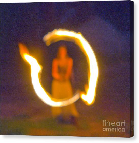 Fire Twirler Alone Canvas Print