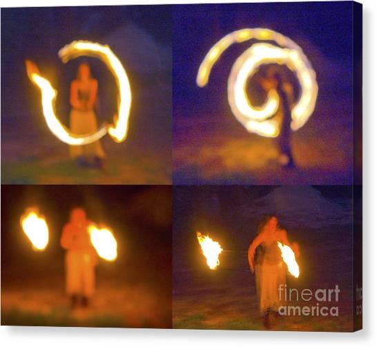 Fire Twirlers Canvas Print