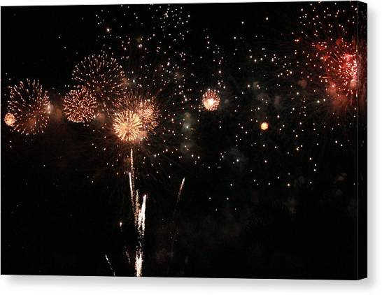 Canvas Print featuring the photograph Fire Work Display by Debbie Cundy