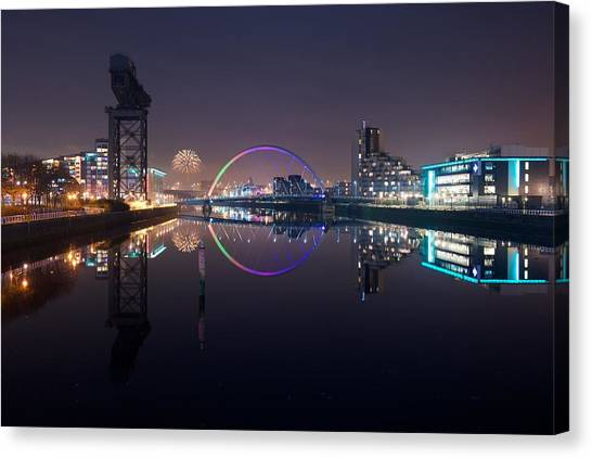 Fire Works Night Glasgow Canvas Print