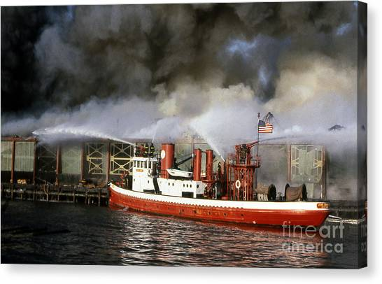 Fireboat Harvey In Action Canvas Print