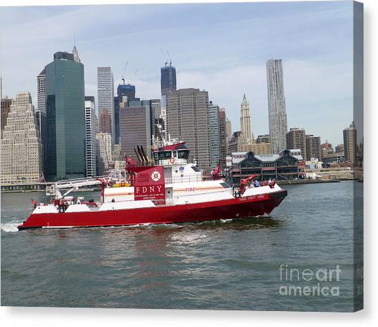 Fireboat Three Forty Three  Fdny With The Nyc Skyline Canvas Print