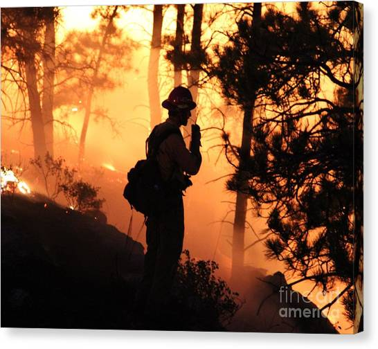 Firefighter At Night On The White Draw Fire Canvas Print