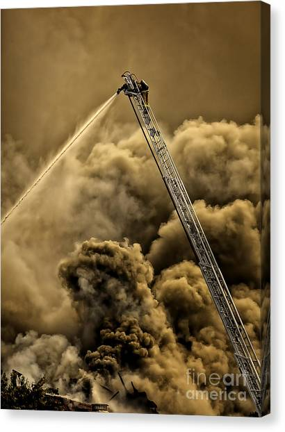Firefighter-heat Of The Battle Canvas Print