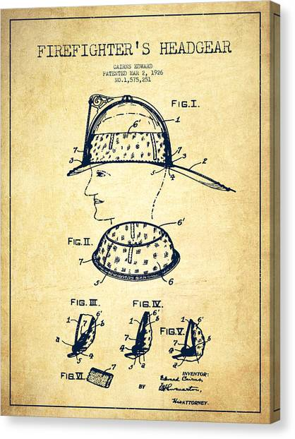 Firefighters Canvas Print - Firefighter Headgear Patent Drawing From 1926 - Vintage by Aged Pixel