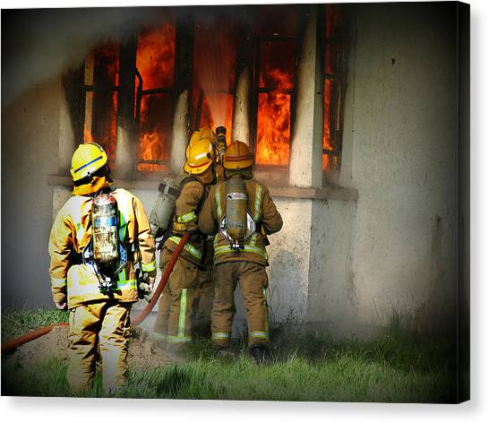 Volunteer Firefighter Canvas Print - Firefighters by Amanda Stadther