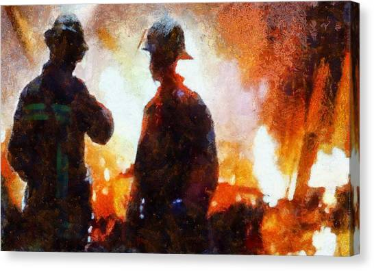 Nyfd Canvas Print - Firefighters At The Scene by Dan Sproul