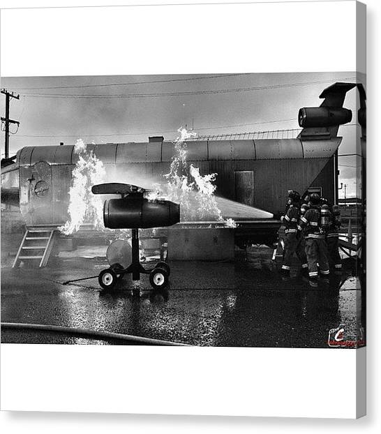 Firefighters Canvas Print - #firefighters Fighting A #fire On The by James Crawshaw