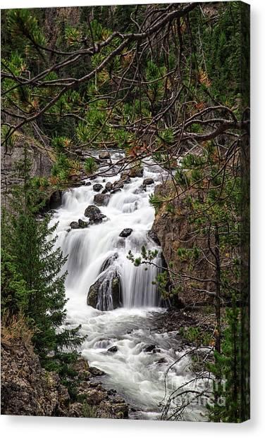 Yellowstone Canvas Print - Firehole River Waterfall Yellowstone Np by Edward Fielding