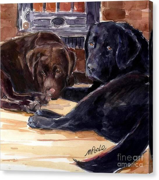 Chocolate Labrador Retriever Canvas Print - Firelight by Molly Poole