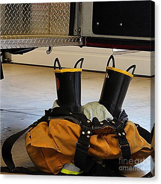Fireman Ready To Go Canvas Print